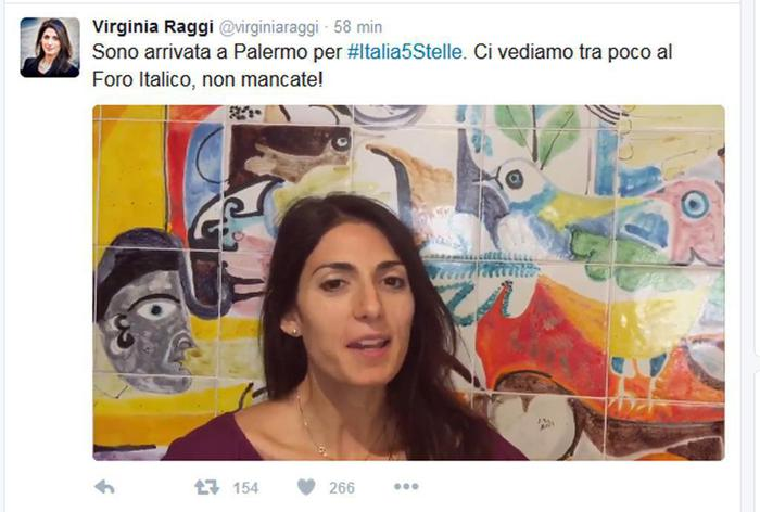 Il sindaco di Roma Raggi a Palermo