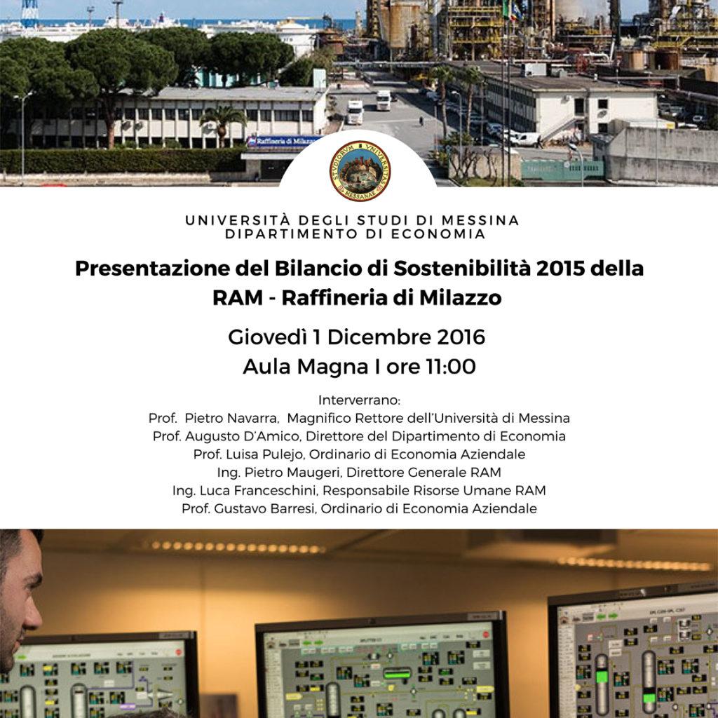 Ram presenta a Messina il Bilancio di Sostenibilità all'Università di Messina