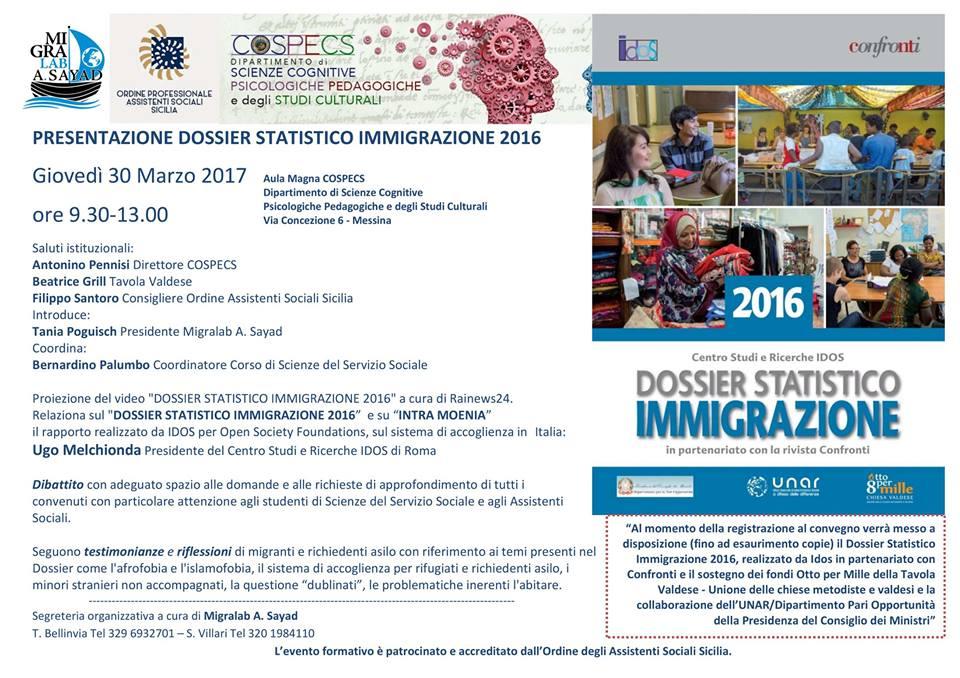IL 30 marzo, si presenta a Messina il Dossier statistico immigrazione 2016