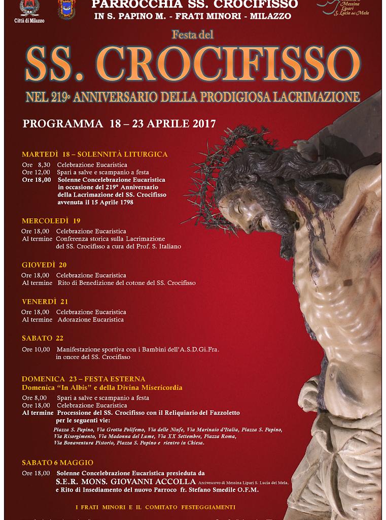 MILAZZO: tradizionali festeggiamenti in onore del SS. Crocifisso