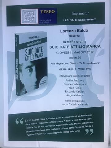 """Milazzo/ Presentazione del libro:"""" La mafia ordina suicidate Attilio Manca"""""""
