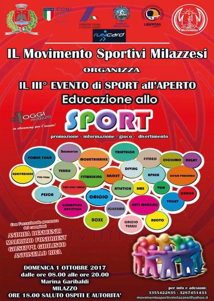 milazzo/ Domenica la manifestazione del Movimento Sportivi milazzesi