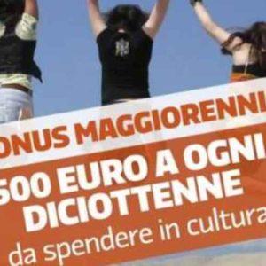 500 euro ai 18enni, arriva il bonus