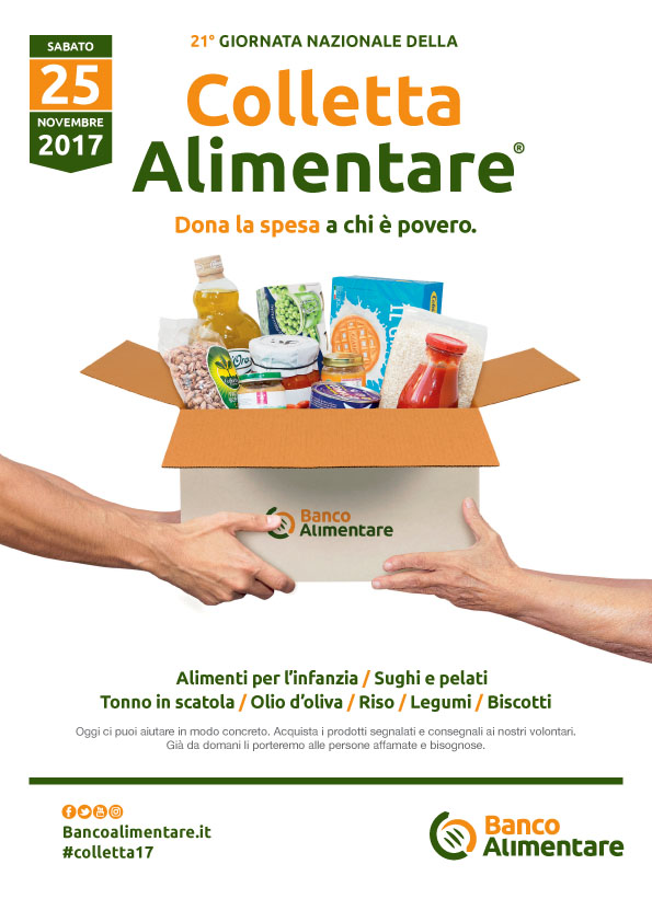 Sabato 25 novembre si terrà in tutta Italia la XXI edizione della Giornata Nazionale della Colletta Alimentare
