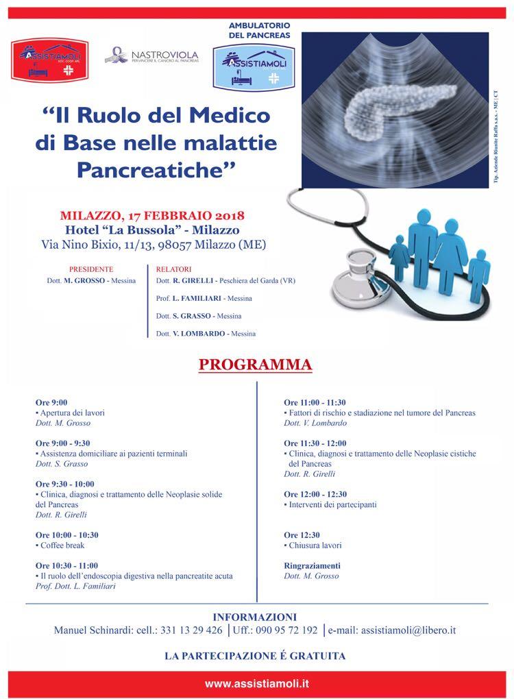 Sabato a Milazzo convegno sulle malattie pancreatiche col dottor Girelli