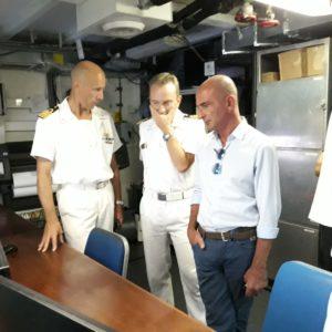Visita del sindaco alla nave idrografica Magnaghi in sosta a Milazzo
