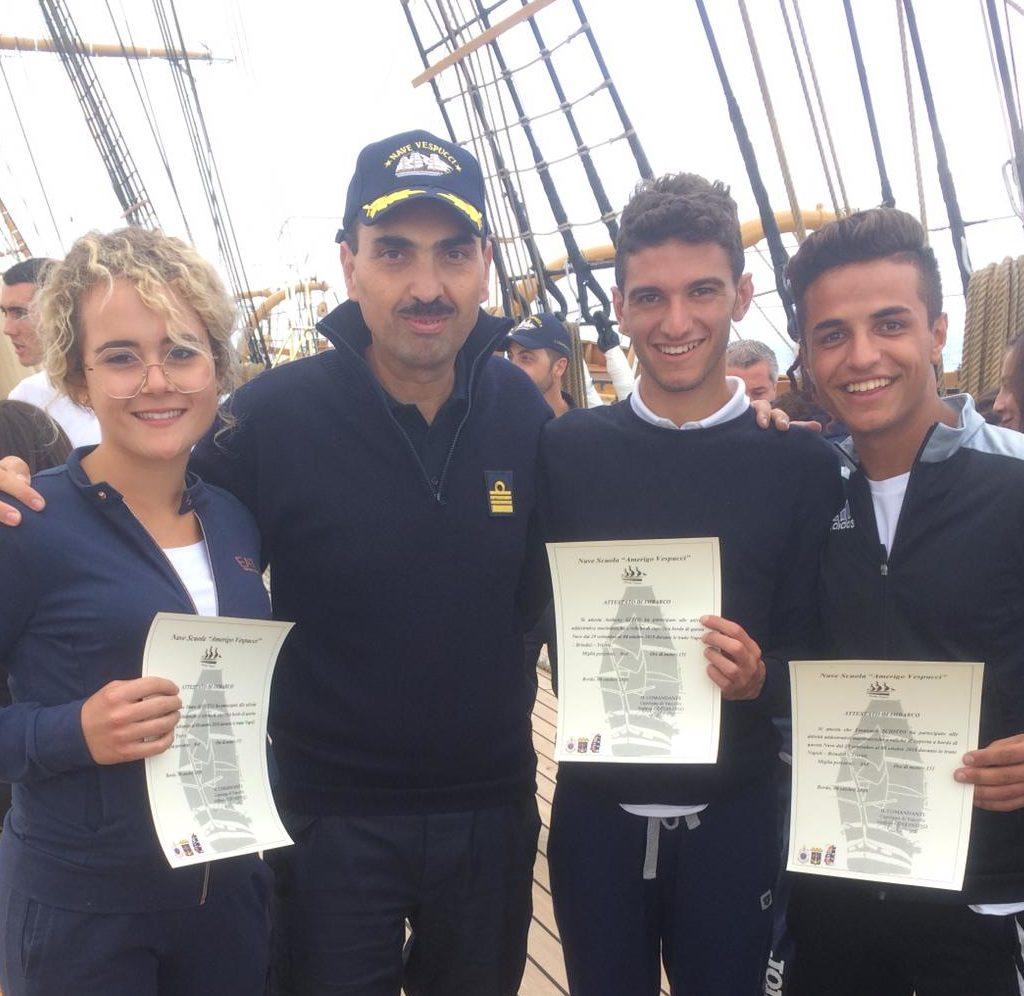 """Tre studenti dell'Istituto """"Leonardo da Vinci"""" di Milazzo sulla nave scuola """"Vespucci"""""""