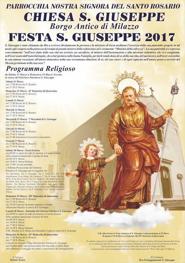 Milazzo: Festa di S. Giuseppe, gli appuntamenti