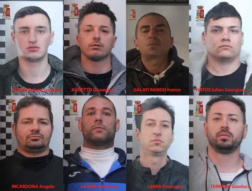 Rapine violente in ville: 8 arresti