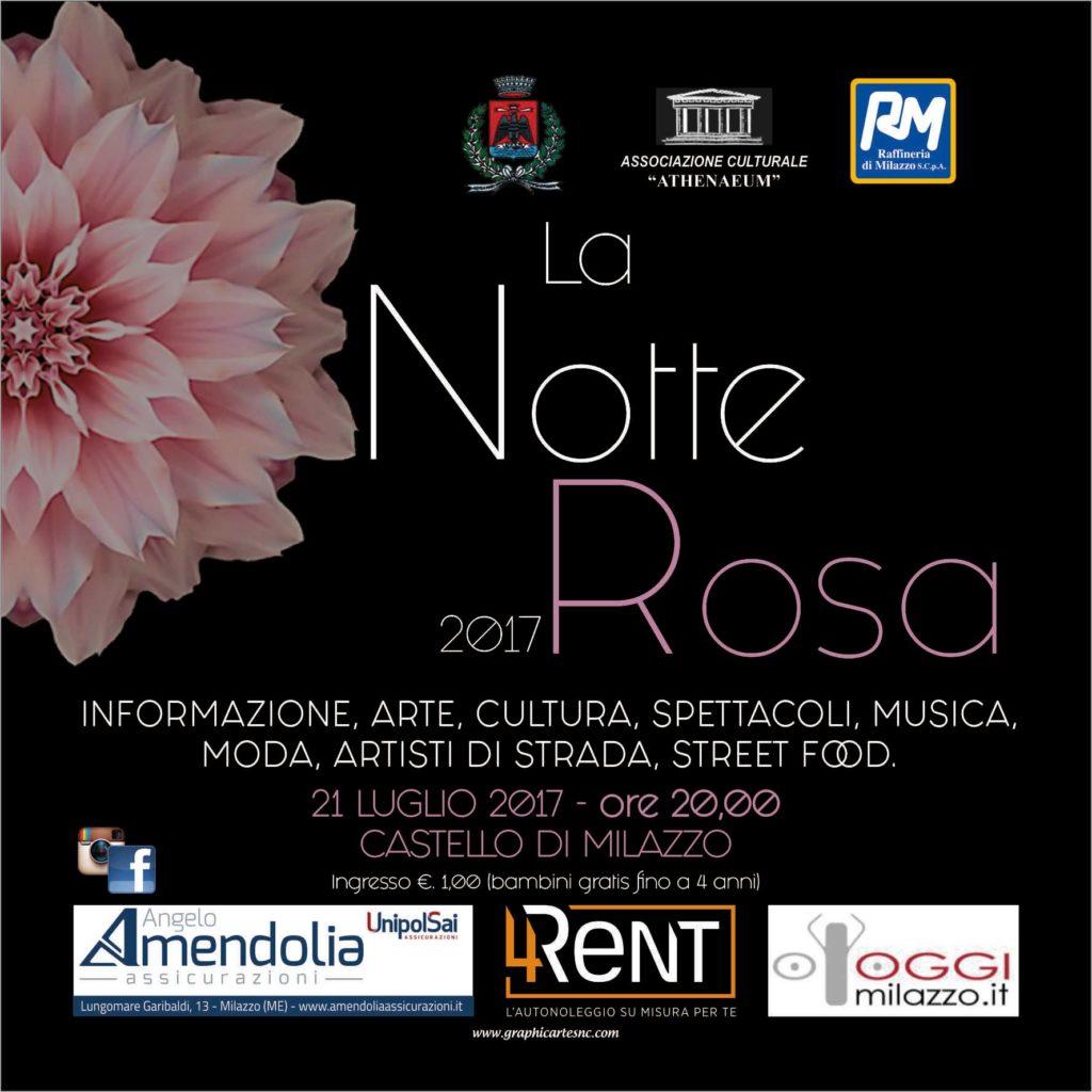 """Venerdì al Castello di Milazzo """"La Notte Rosa 2017"""","""