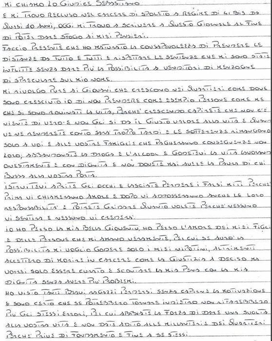 Mafia: lettera boss a giovani,non seguite falsi miti come me