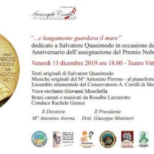 """Settimana Quasimodiana a Messina/ venerdì 13 dicembre, al Teatro Vittorio Emanuele, in scena lo spettacolo """"…e lungamente guardava il mare"""""""