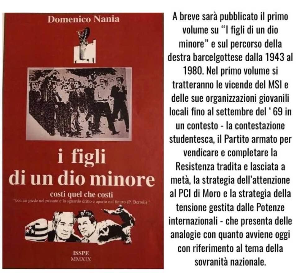 La Destra barcellonese dal 1943 al 1980, libro del senatore Mimmo Nania
